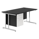 White KOMO Value Rectangular Desk with Cantilever Legs and Single Pedestal - Next Day
