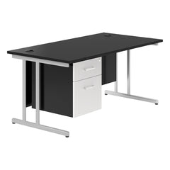KOMO Value Rectangular Desk with Cantilever Legs and Single Pedestal