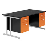 KOMO Value Rectangular Desk with Cantilever Legs and Double Pedestal