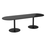 Vanta Black Large D End Meeting Table with Column Base Legs