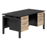 Vanta Black Rectangular Desk with Bench Legs and Double Pedestal