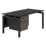 Vanta Black Rectangular Desk with Bench Legs and Single Pedestal