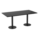 Vanta Black Rectangular Meeting Table with Column Base Legs