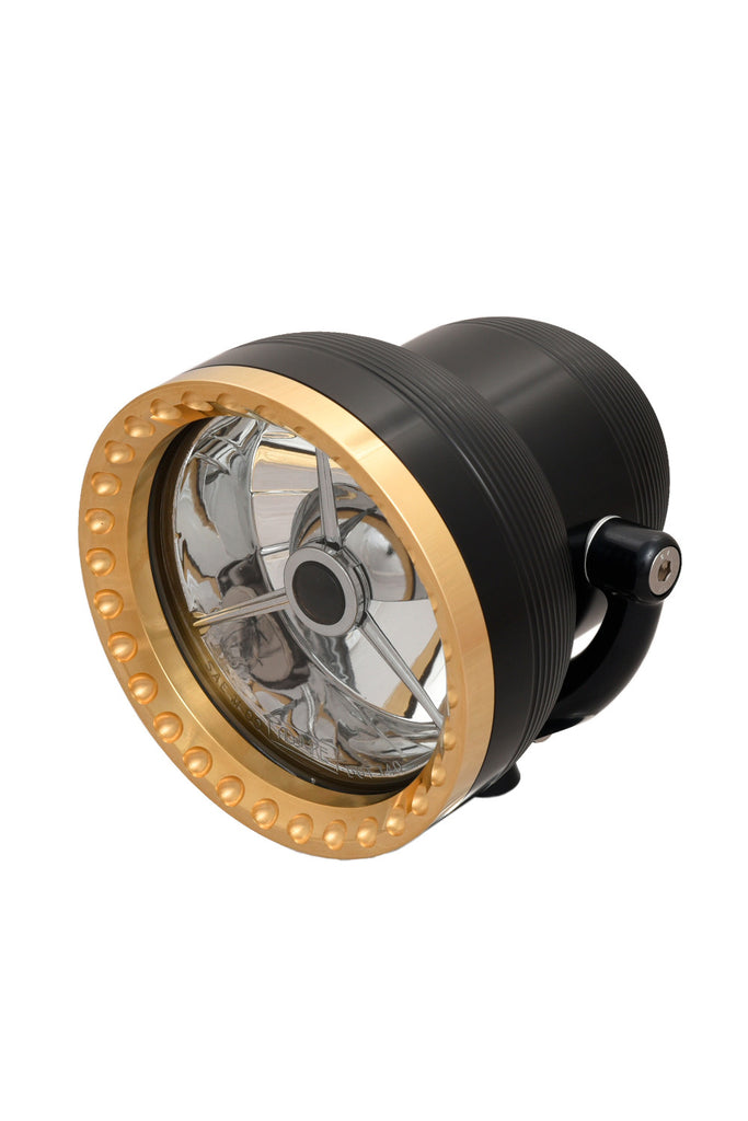 "Neo-Fusion Headlight, 4-1/2"", Black w/Brass Ring (Hookup For Wade)"