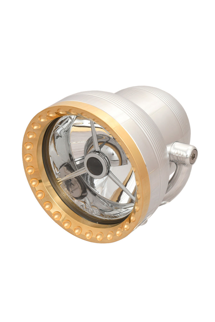 "Neo-Fusion Headlight, 4-1/2"", Polished w/Brass Ring"