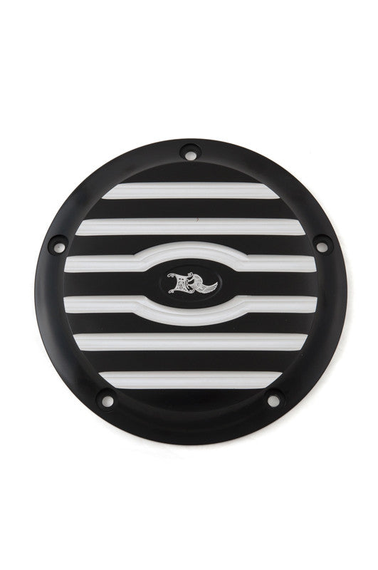 Ribbed Derby Cover, 5-Hole, Black Machine