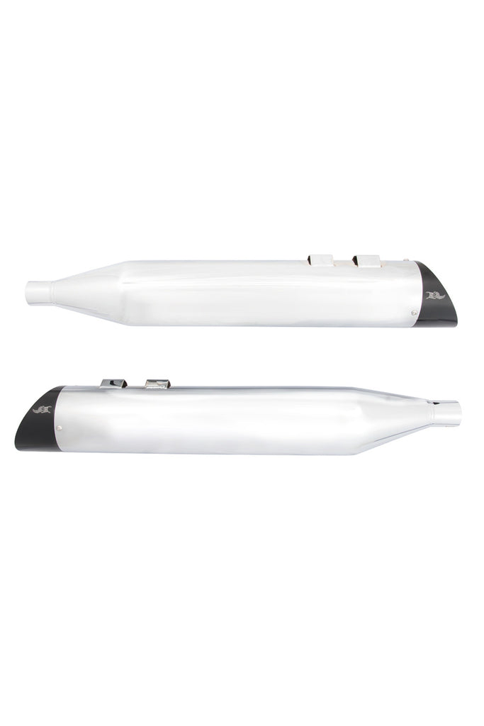 Chrome Slip-On Muffler, Set, w/Black Smooth Cap