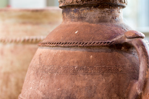 Ancient Stoneware Container Photo on Canvas