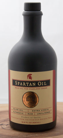 Spartan Oil Award-Winning Premium Quality Extra Virgin Olive Oil Stoneware Bottle