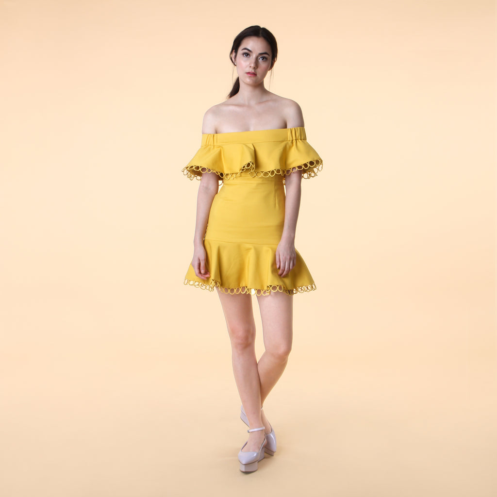 OFF-SHOULDER MINI DRESS <BR> MUSTARD