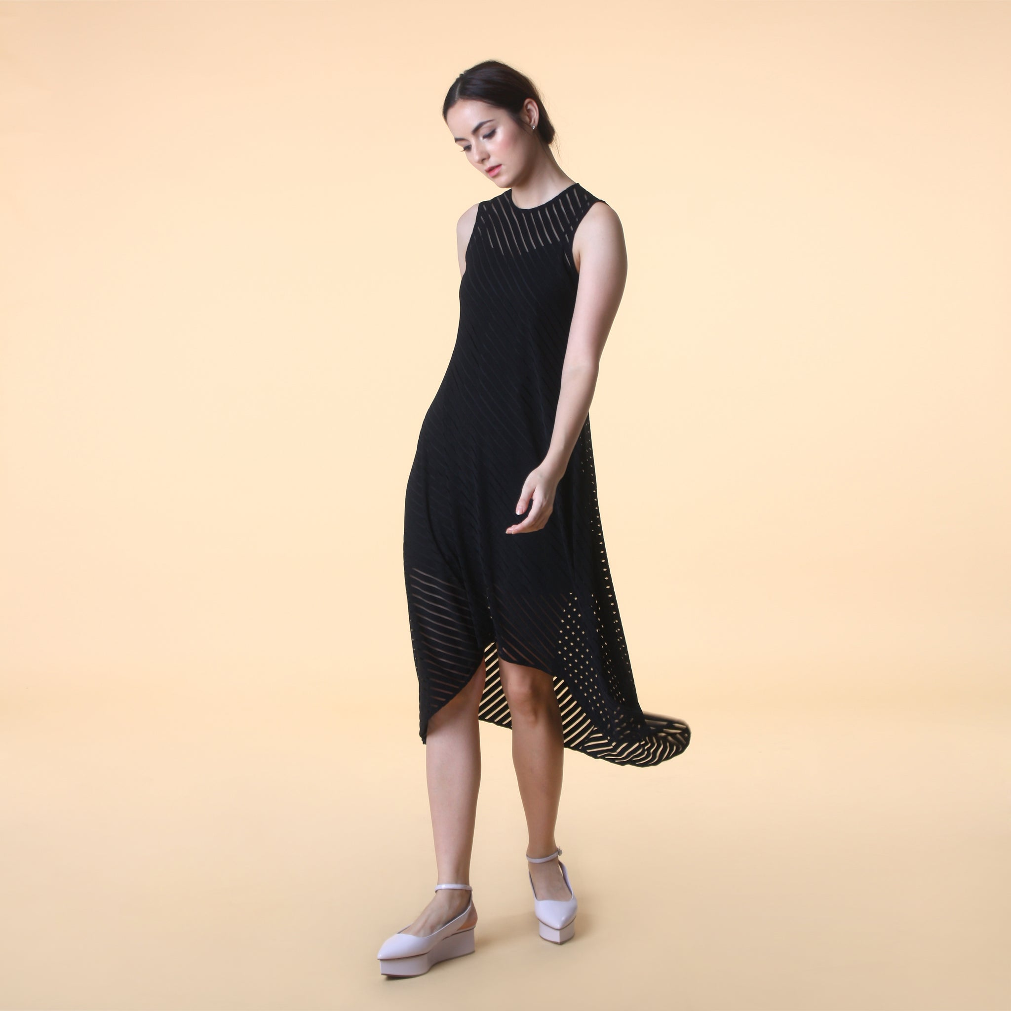 ASYMMETRICAL HEM STRIPE DRESS <BR> BLACK