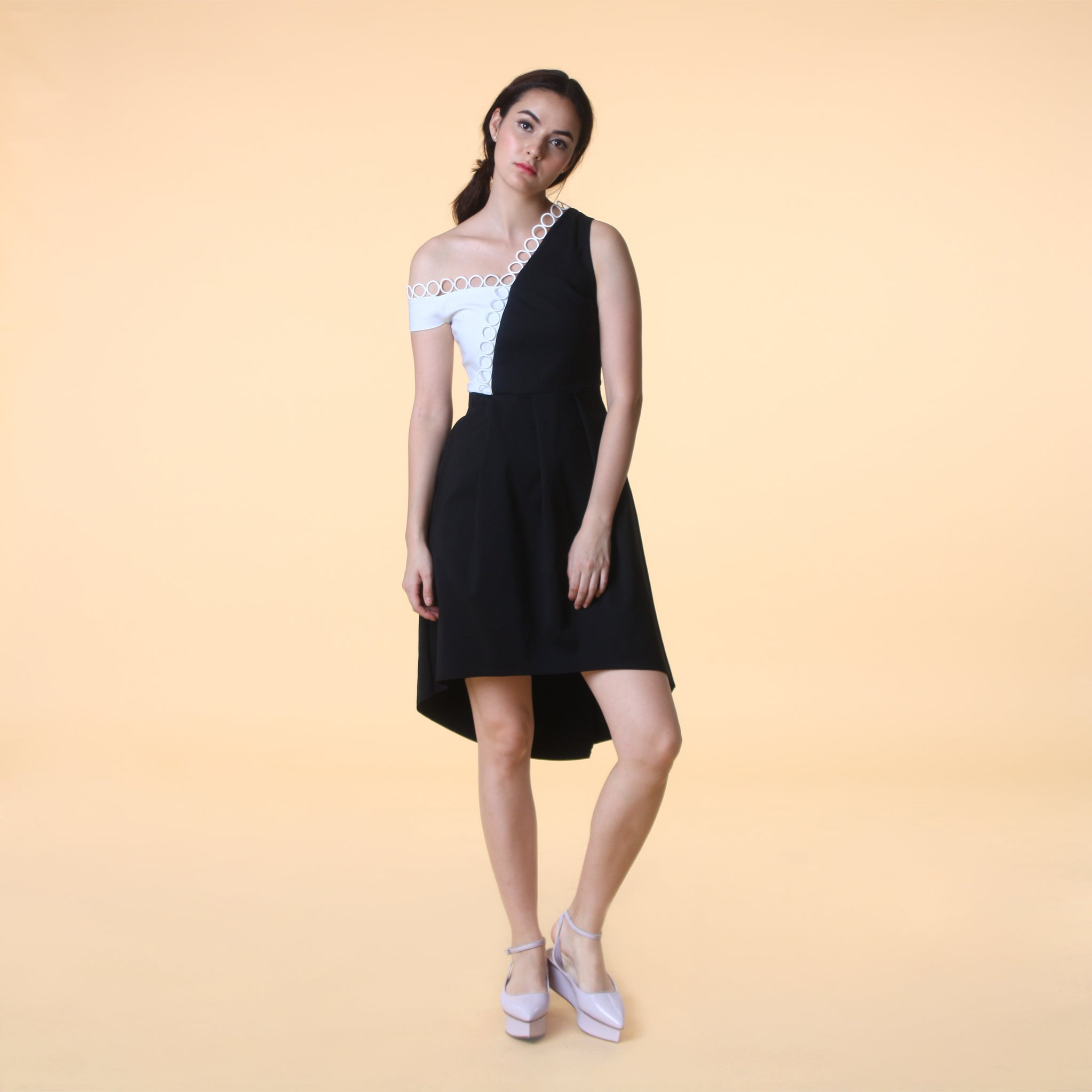 ASYMMETRICAL HEM COLOURBLOCK DRESS <BR> B/W