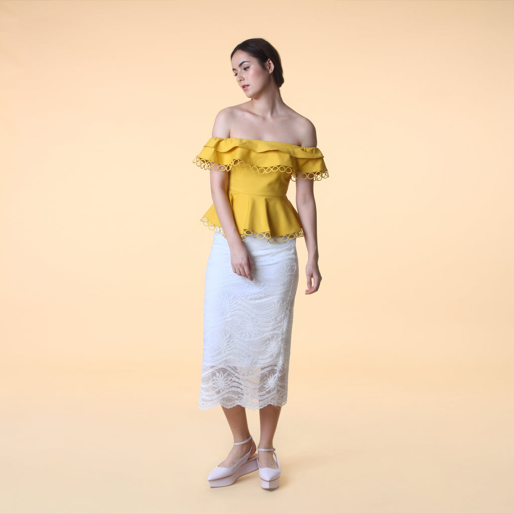 OFF-SHOULDER PEPLUM TOP <BR> MUSTARD