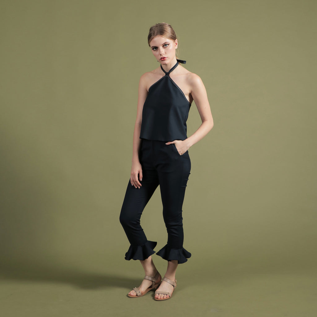 NOIR BY SOIGNÉ<br> SLIM CUT PANTS WITH PEPLUM HEM