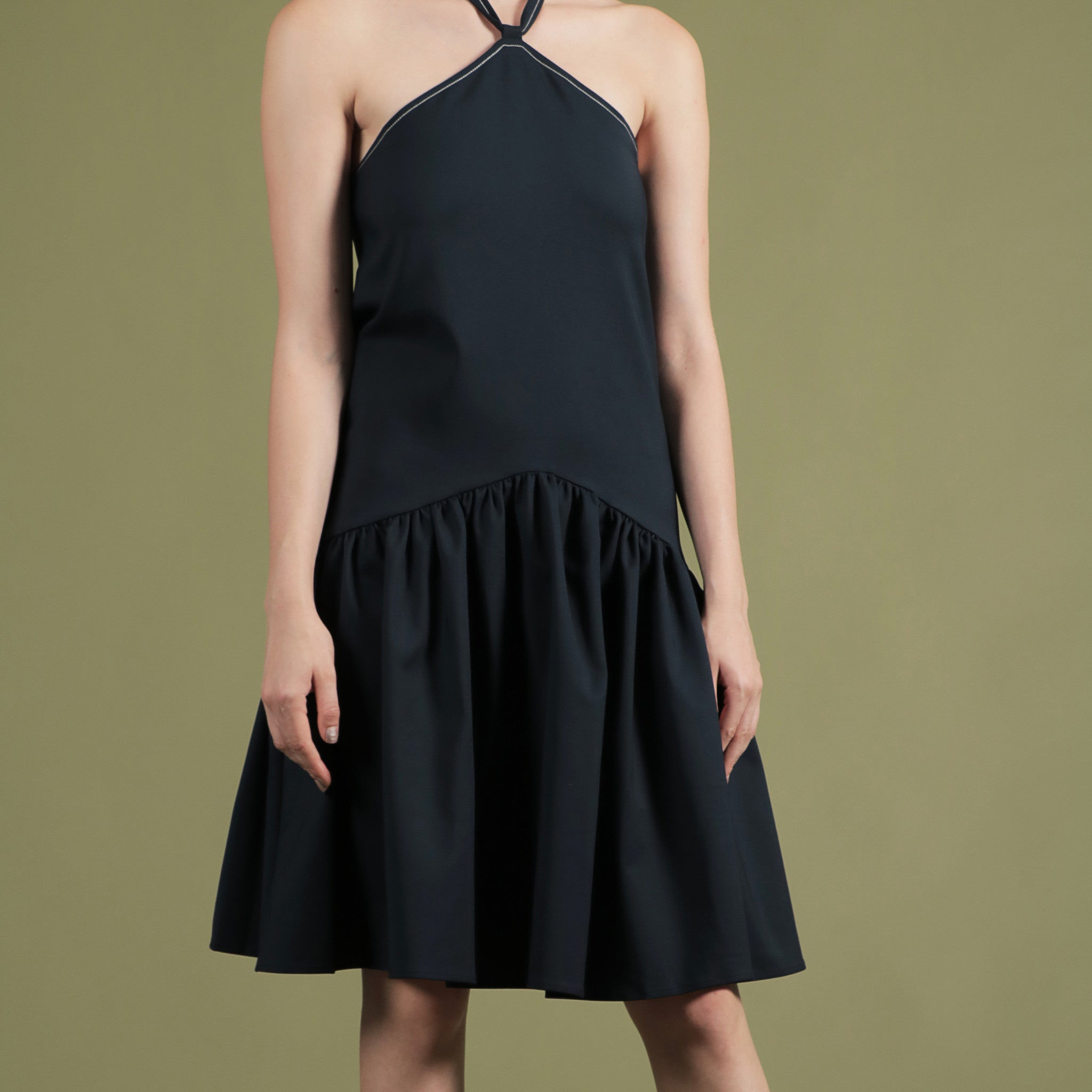NOIR BY SOIGNÉ<br> HIGH NECK DRESS WITH CONTRAST STITCHING