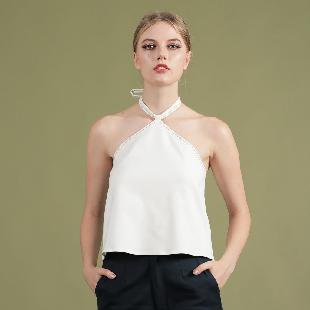 NOIR BY SOIGNÉ<br> FLARE TOP WITH CONTRAST STITCHING