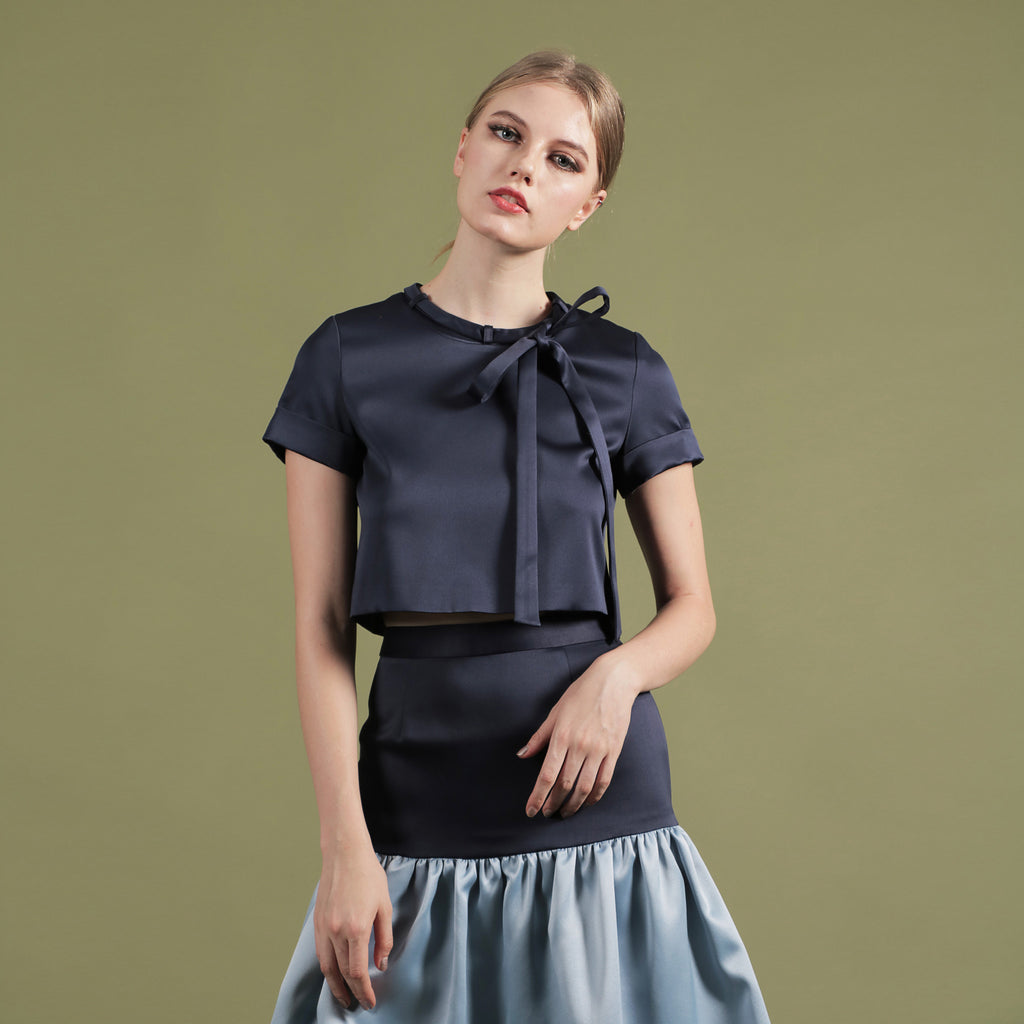 NOIR BY SOIGNÉ<br> OPEN BACK TIE BOW TOP