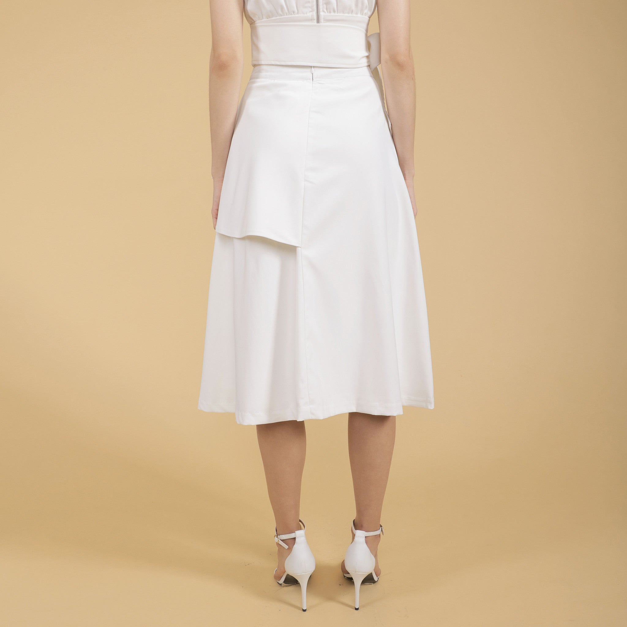 PEPLUM MIDI SKIRT <br> WHITE