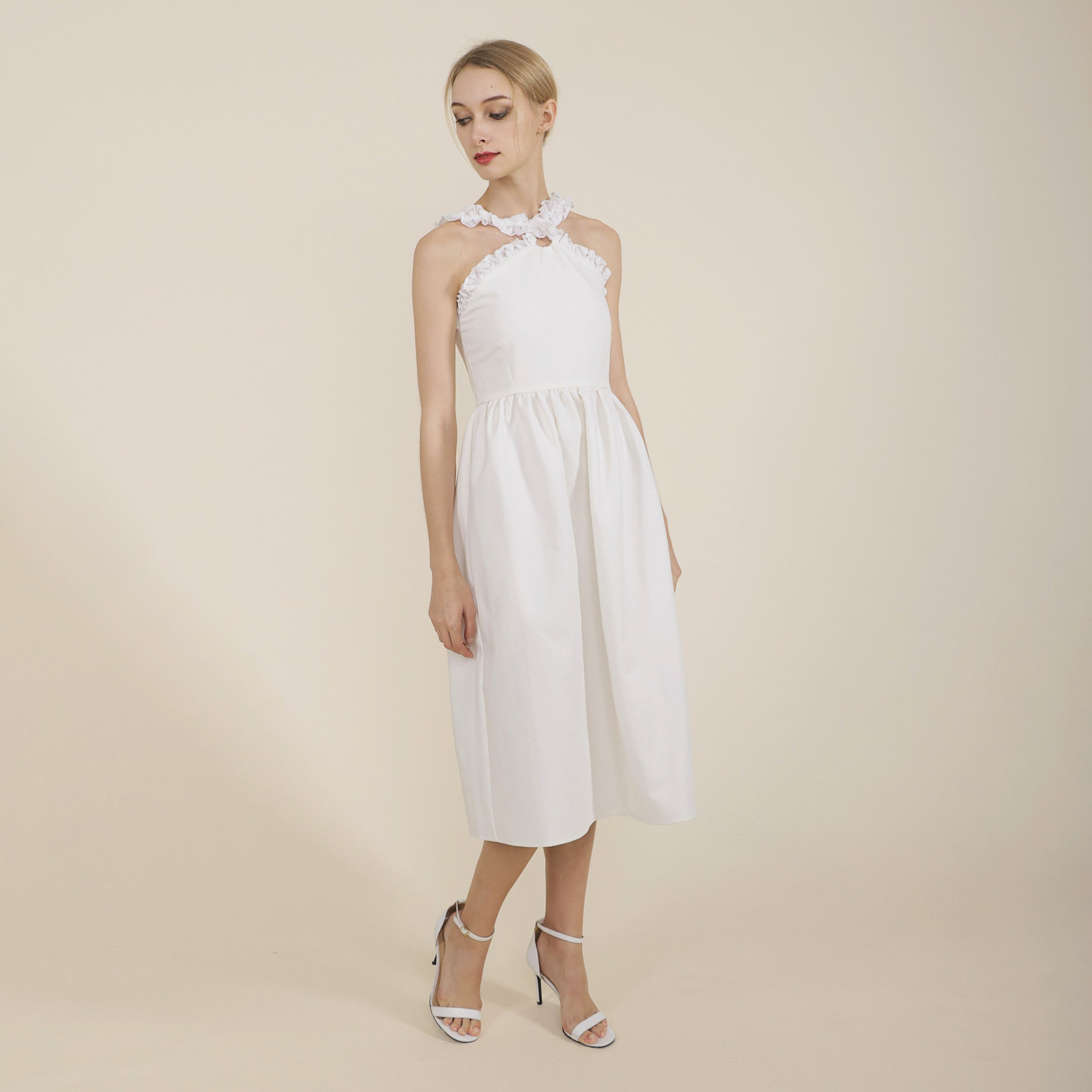 CROSS NECK FITTED WAIST MIDI DRESS <br> WHITE