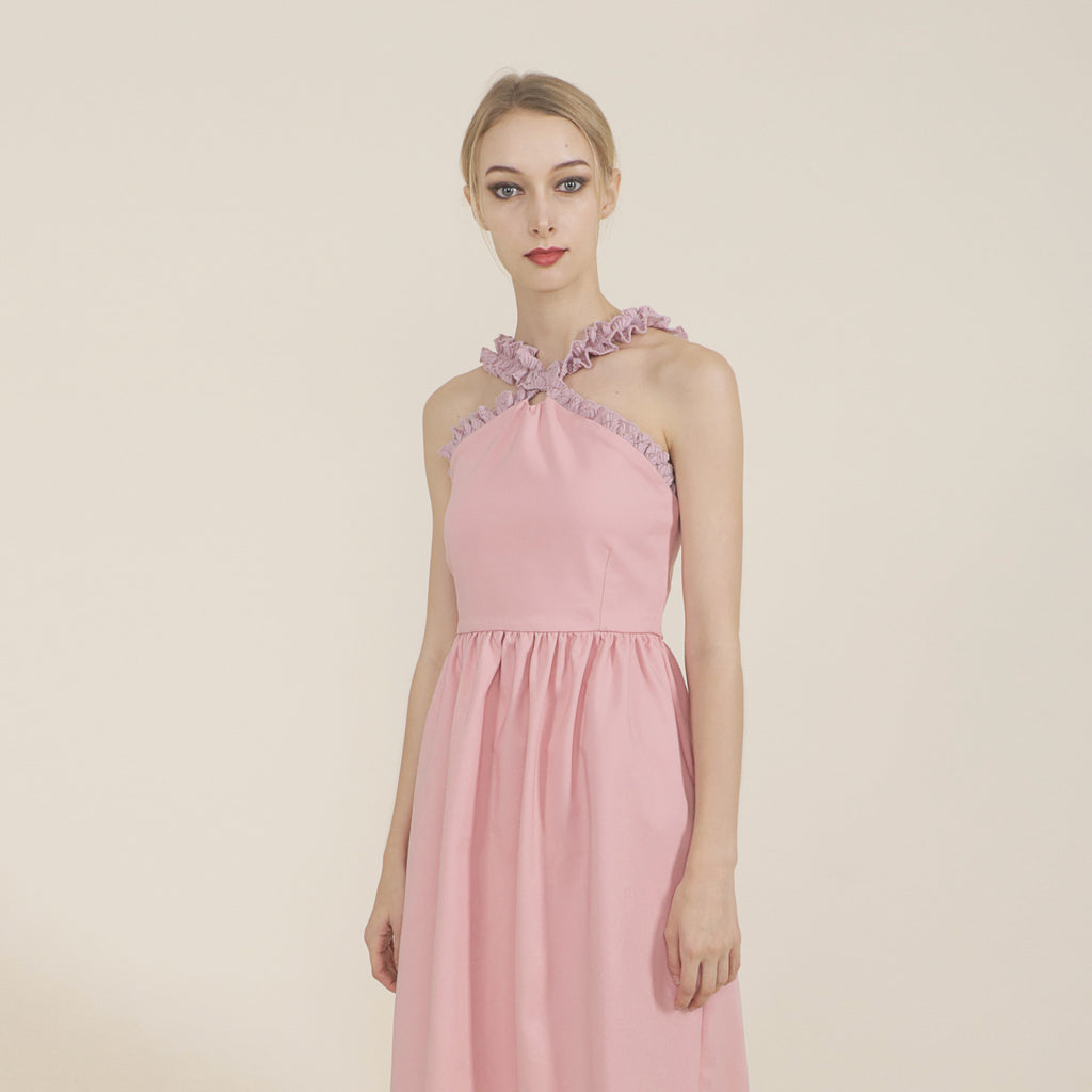 CROSS NECK FITTED WAIST MIDI DRESS <br> PINK