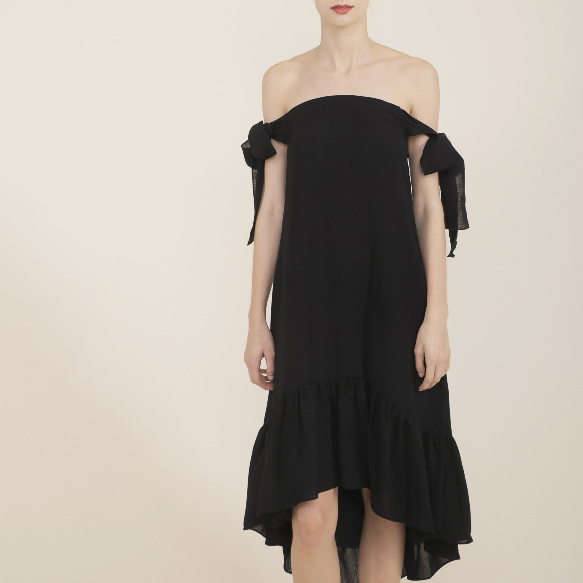 OFF-SHOULDER DRESS WITH TIE SASH <br> BLACK