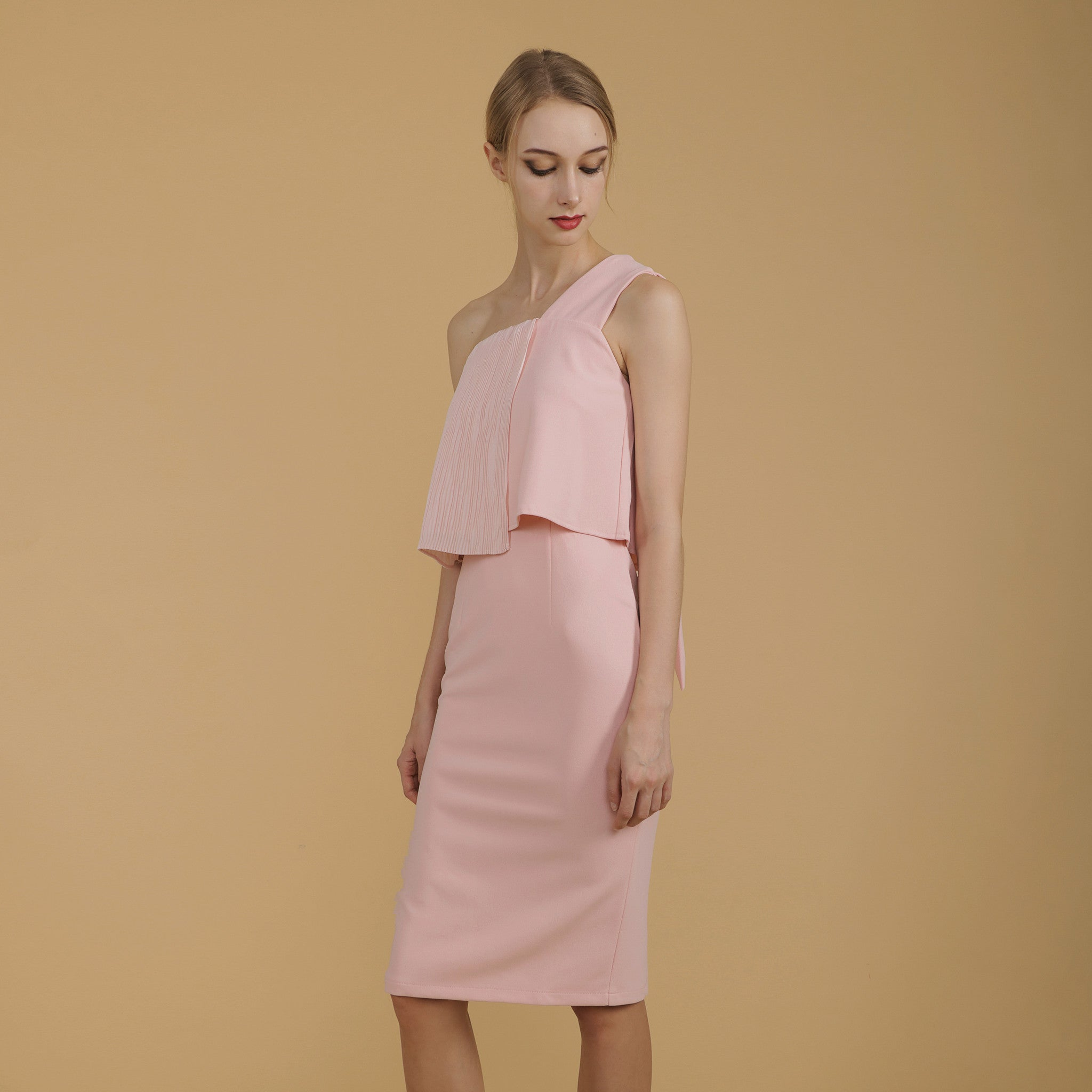 PLEATED TOGA FITTED DRESS <br> PINK