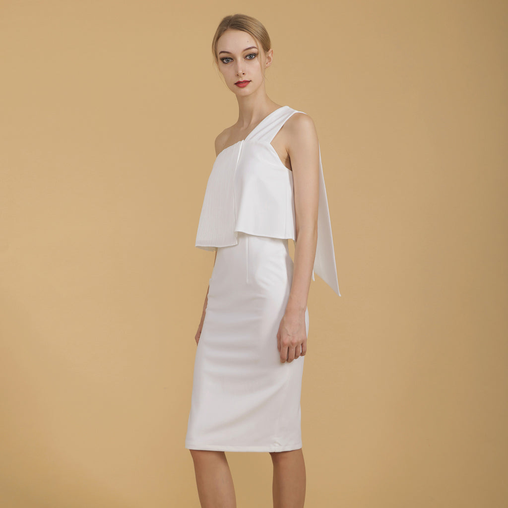 PLEATED TOGA FITTED DRESS <br> WHITE