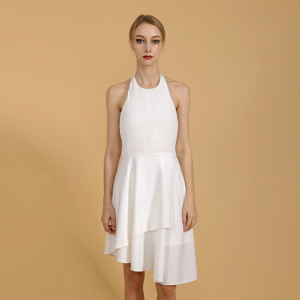 DIAGONAL PLEATED BODICE DRESS <br> WHITE