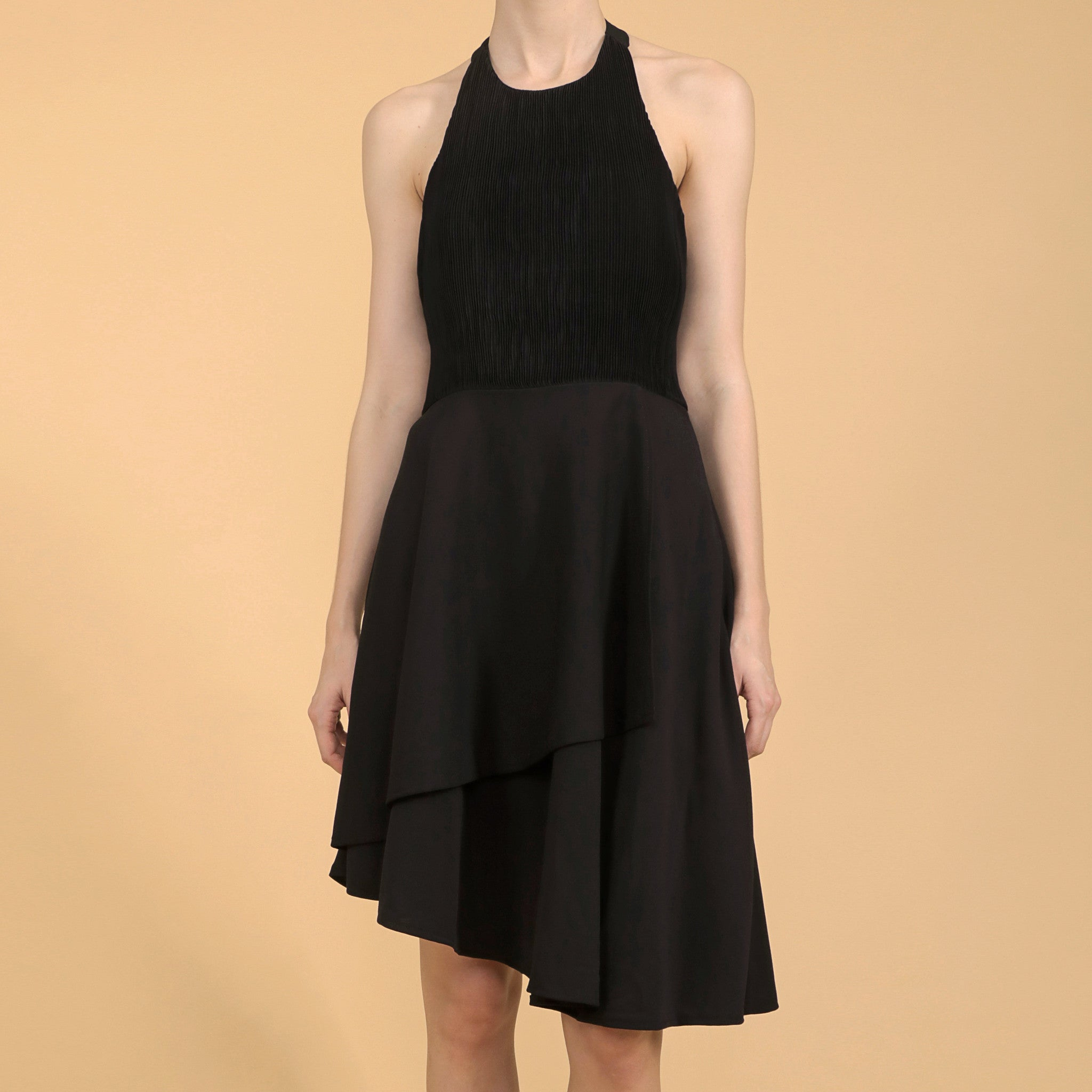 DIAGONAL PLEATED BODICE DRESS <br> BLACK