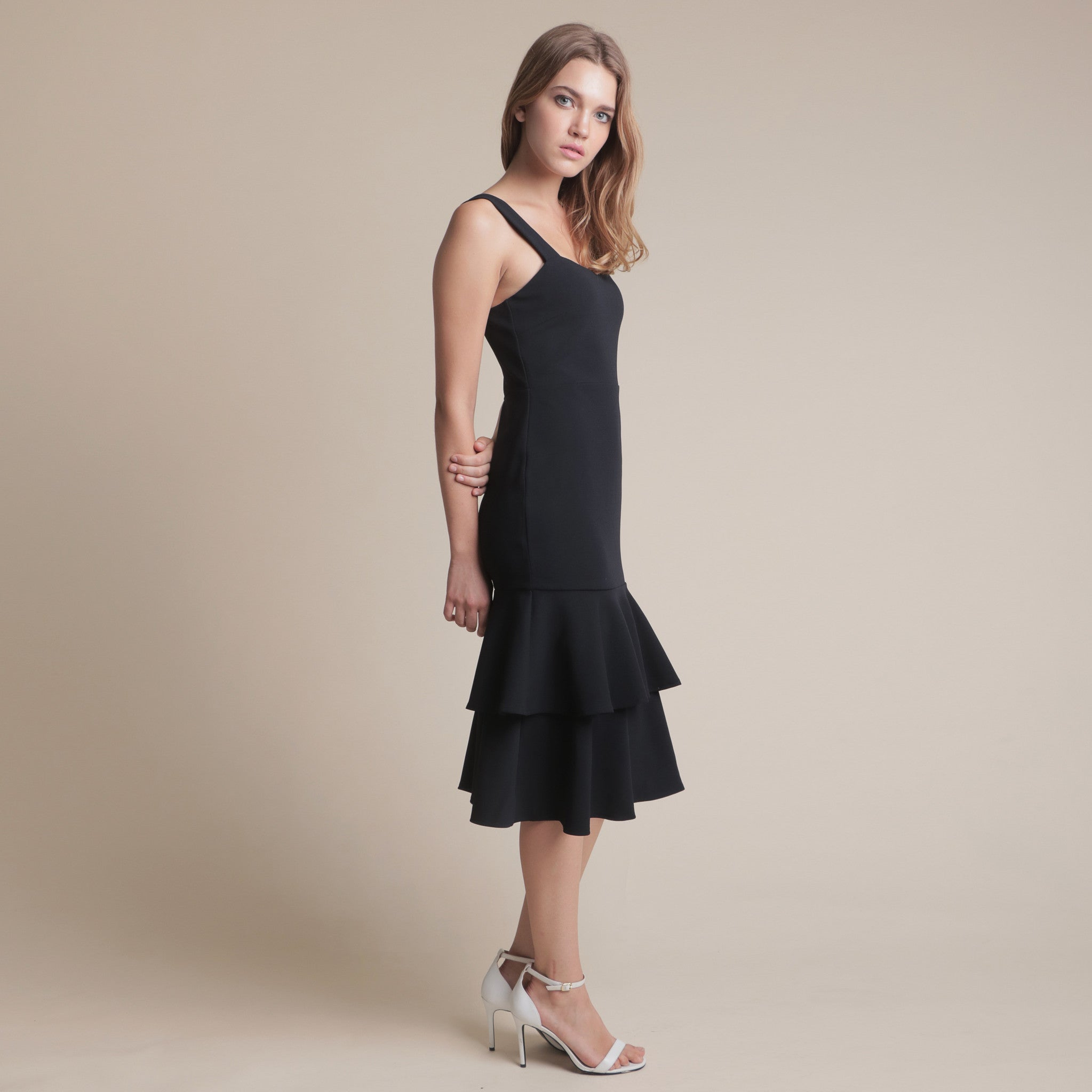 FITTED LAYERED MIDI DRESS <BR> NAVY