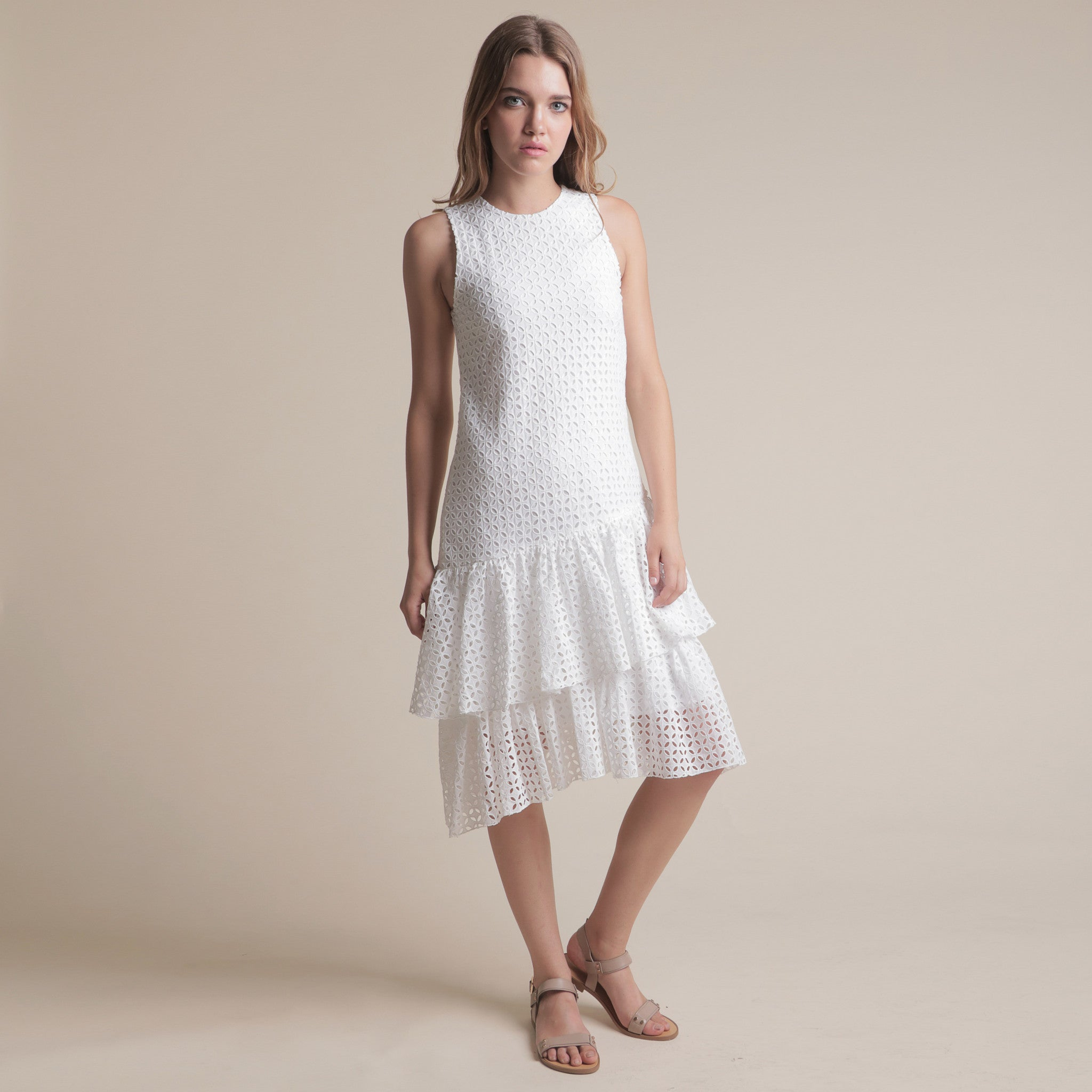 TEXTURED LAYERED MIDI DRESS <br> WHITE