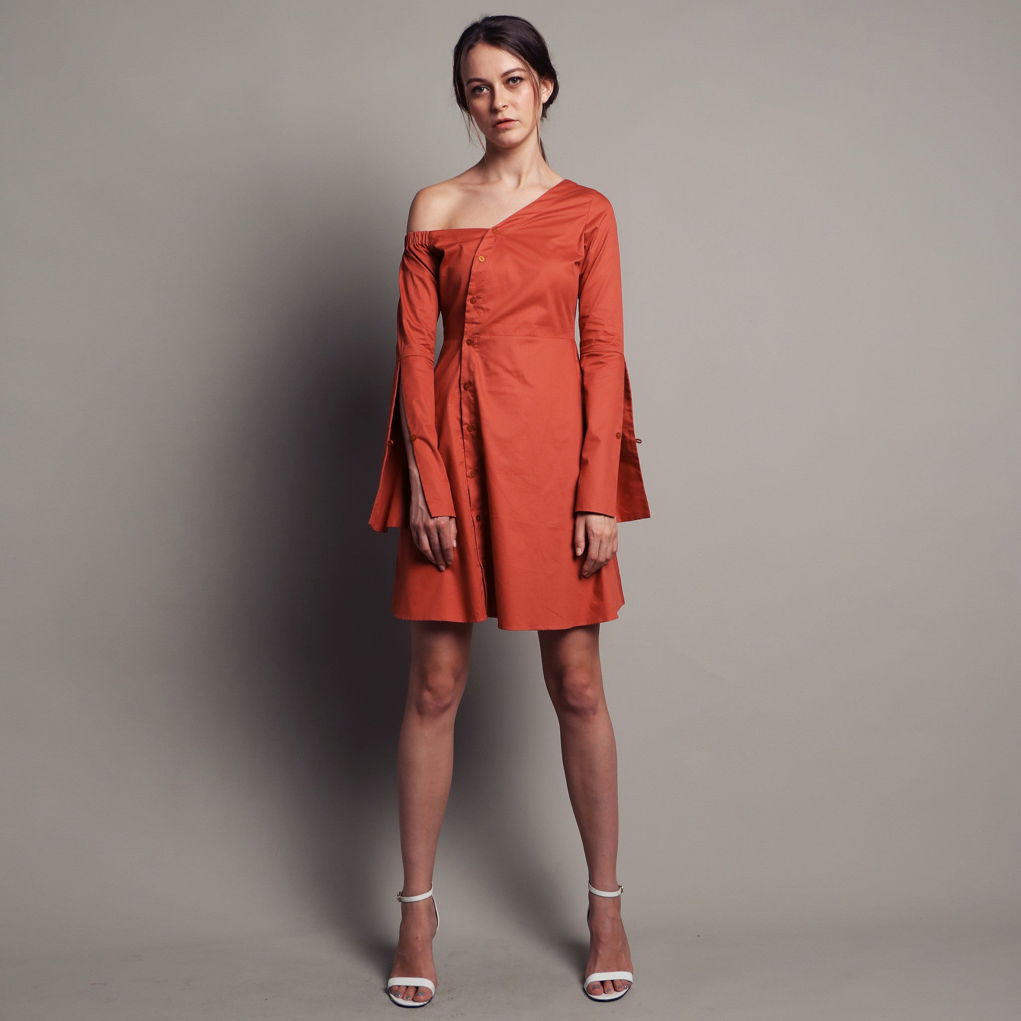 OFF-SHOULDER BELL SLEEVE DRESS <BR> TERRACOTTA