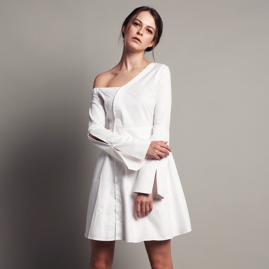 OFF-SHOULDER BELL SLEEVE DRESS <BR> WHITE
