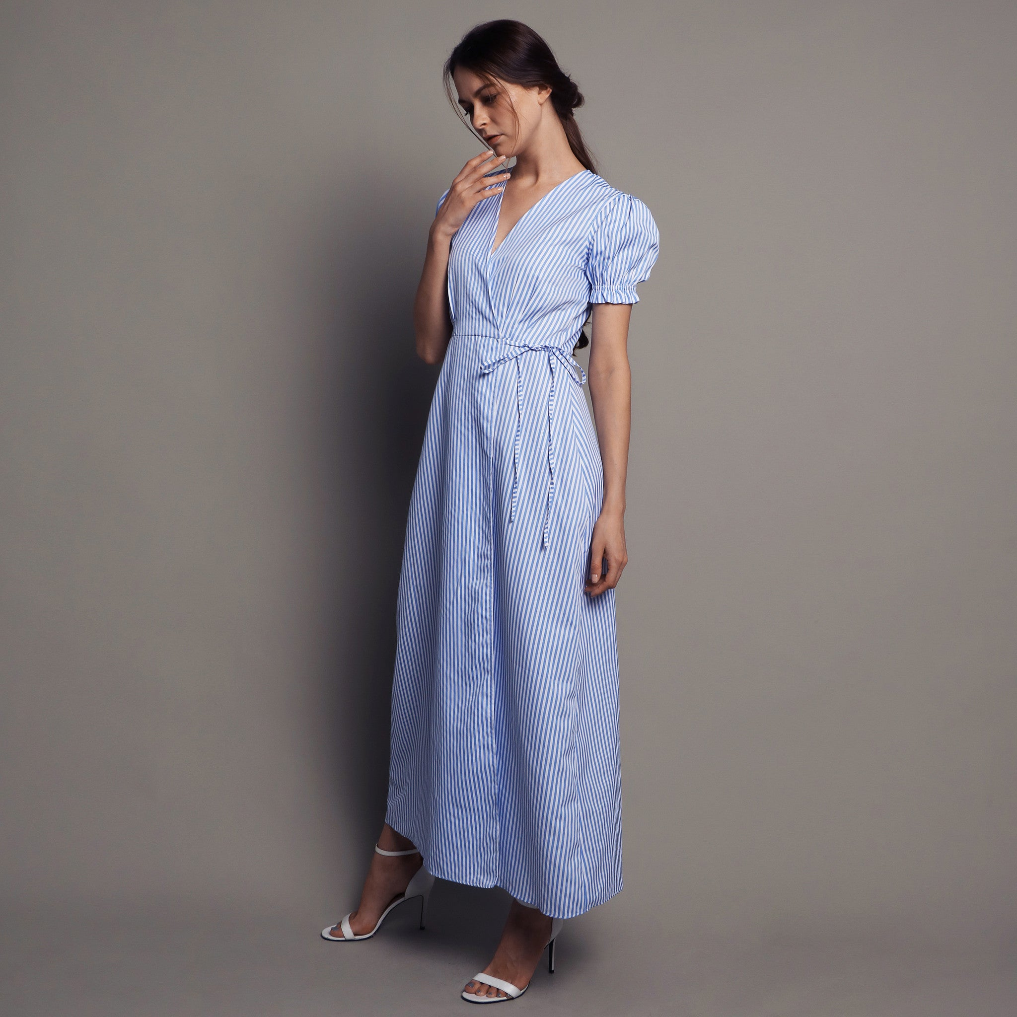 V-NECK WRAP MAXI DRESS <BR> PINSTRIPE