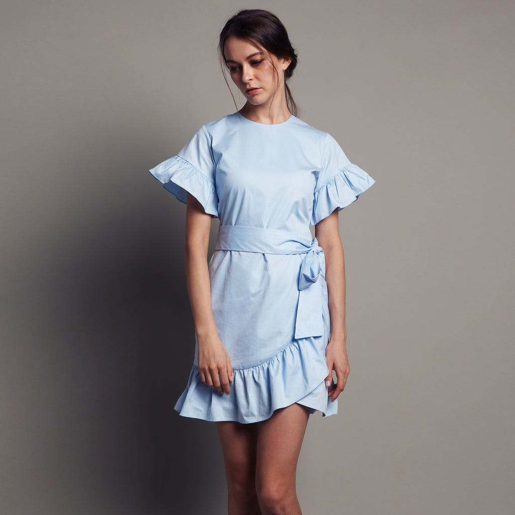 RUFFLED MINI DRESS <BR> BLUE
