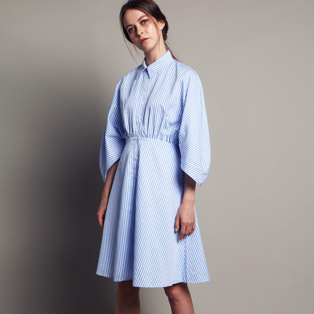 SHIRT DRESS WITH FITTED WAIST <BR> PINSTRIPE