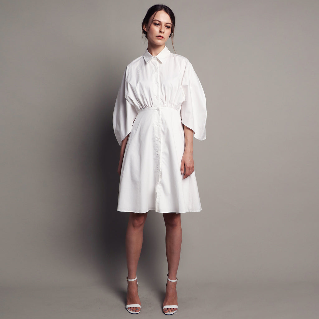 SHIRT DRESS WITH FITTED WAIST <BR> WHITE
