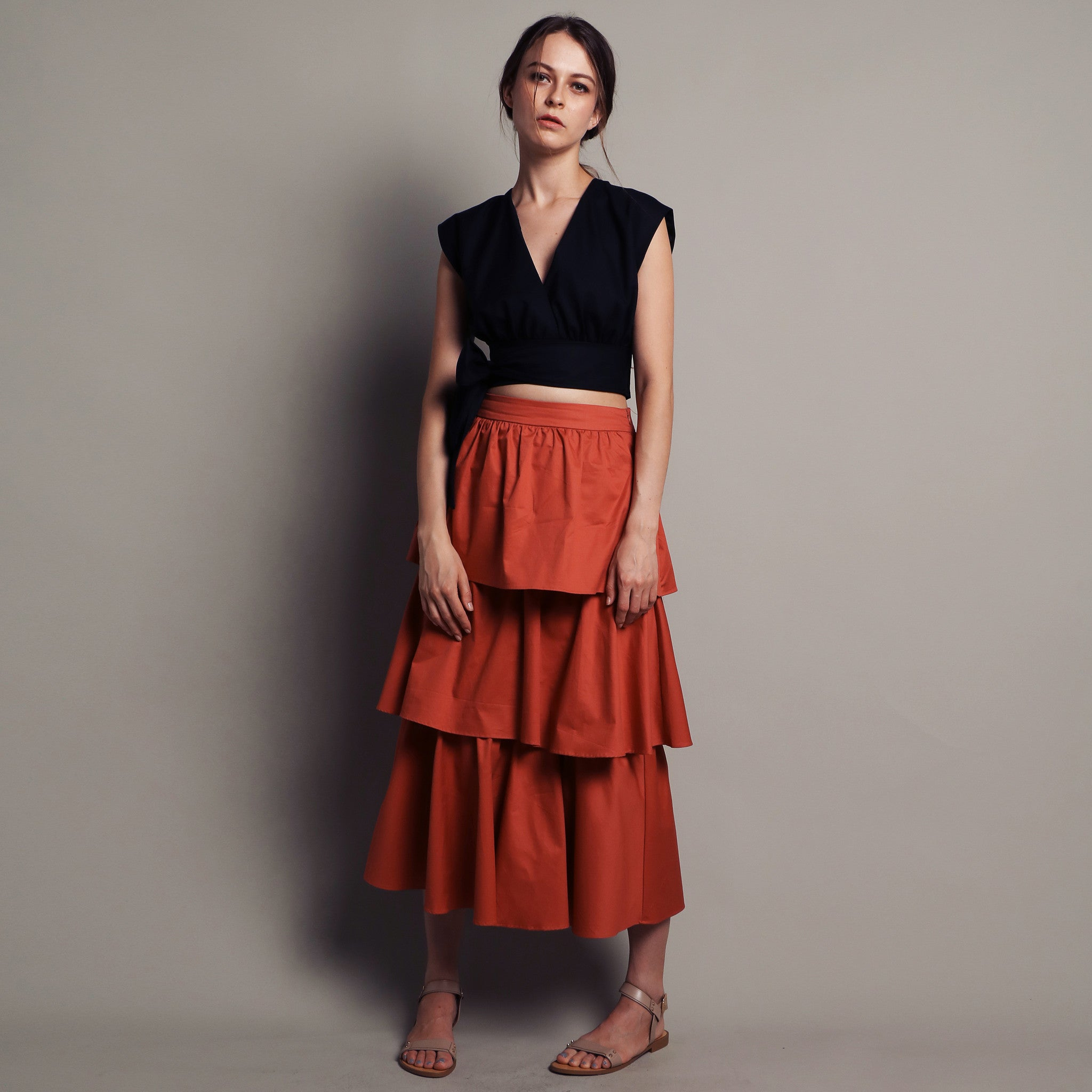 TIERED MAXI SKIRT <BR> TERRACOTTA