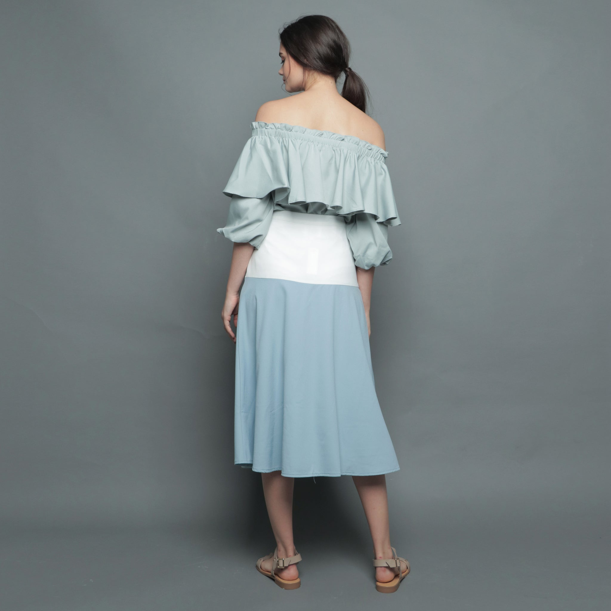 COLOURBLOCK BUTTON SKIRT <BR> BLUE