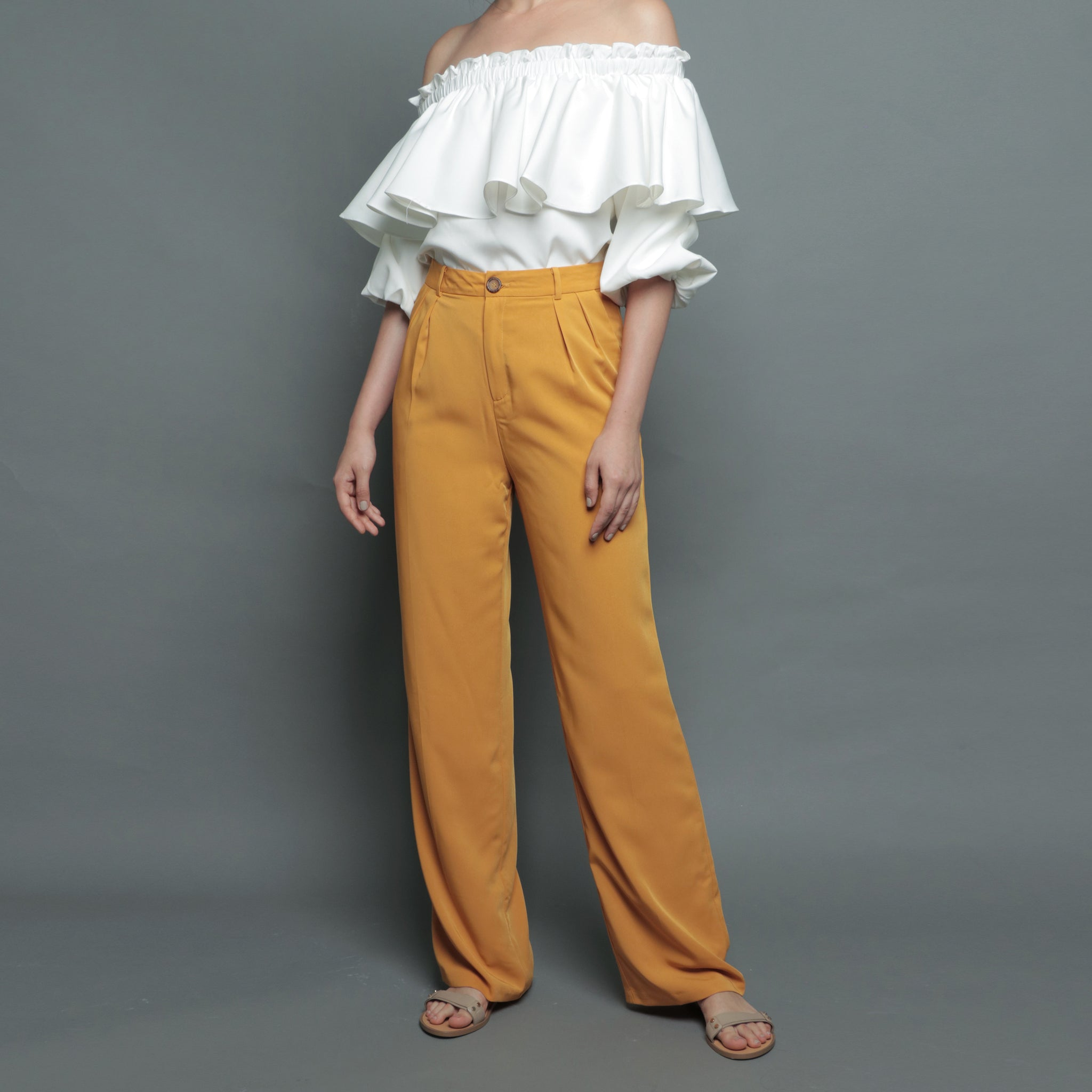 STRAIGHT CUT PANTS <BR> MUSTARD