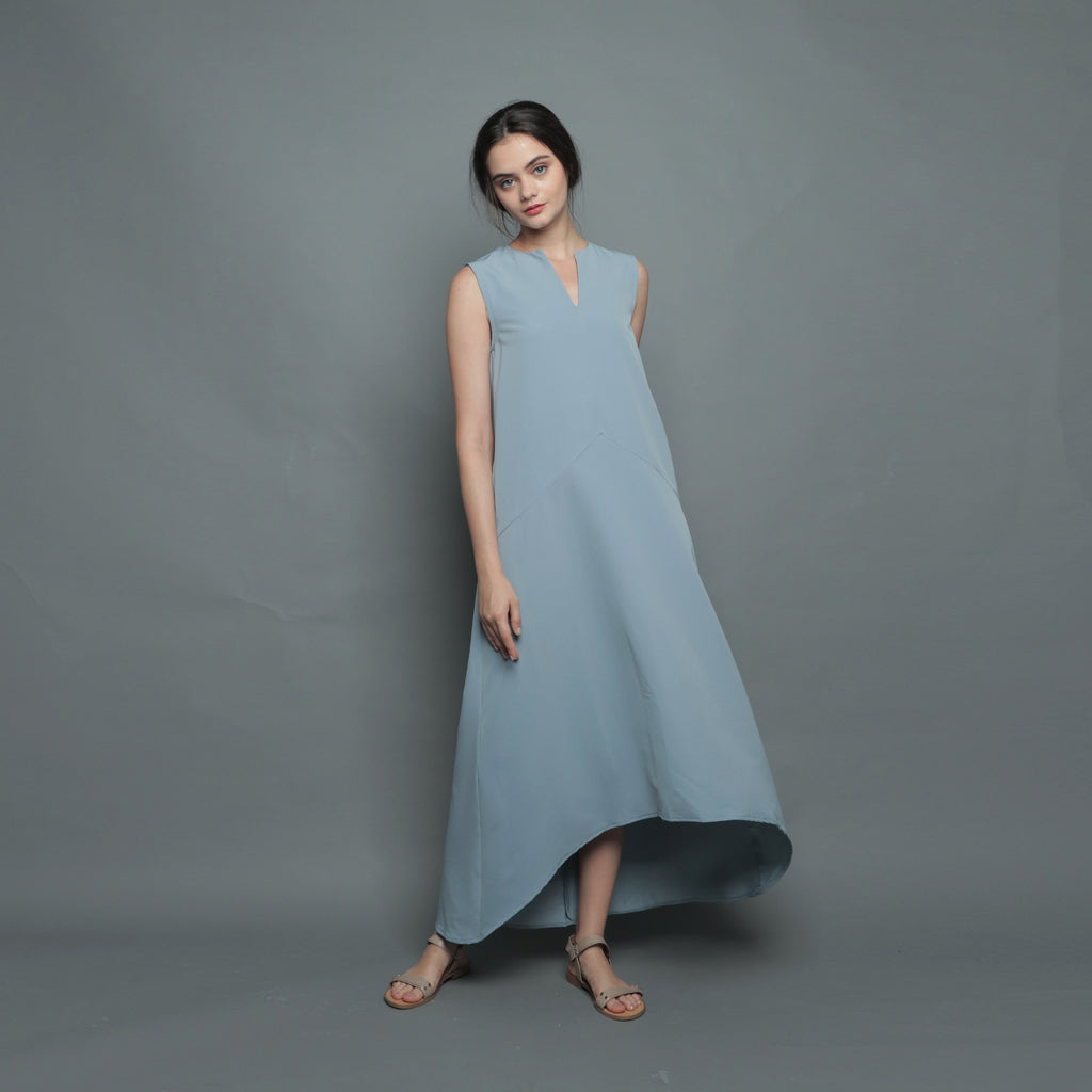 V-NECK DIPHEM DRESS <BR> BLUE