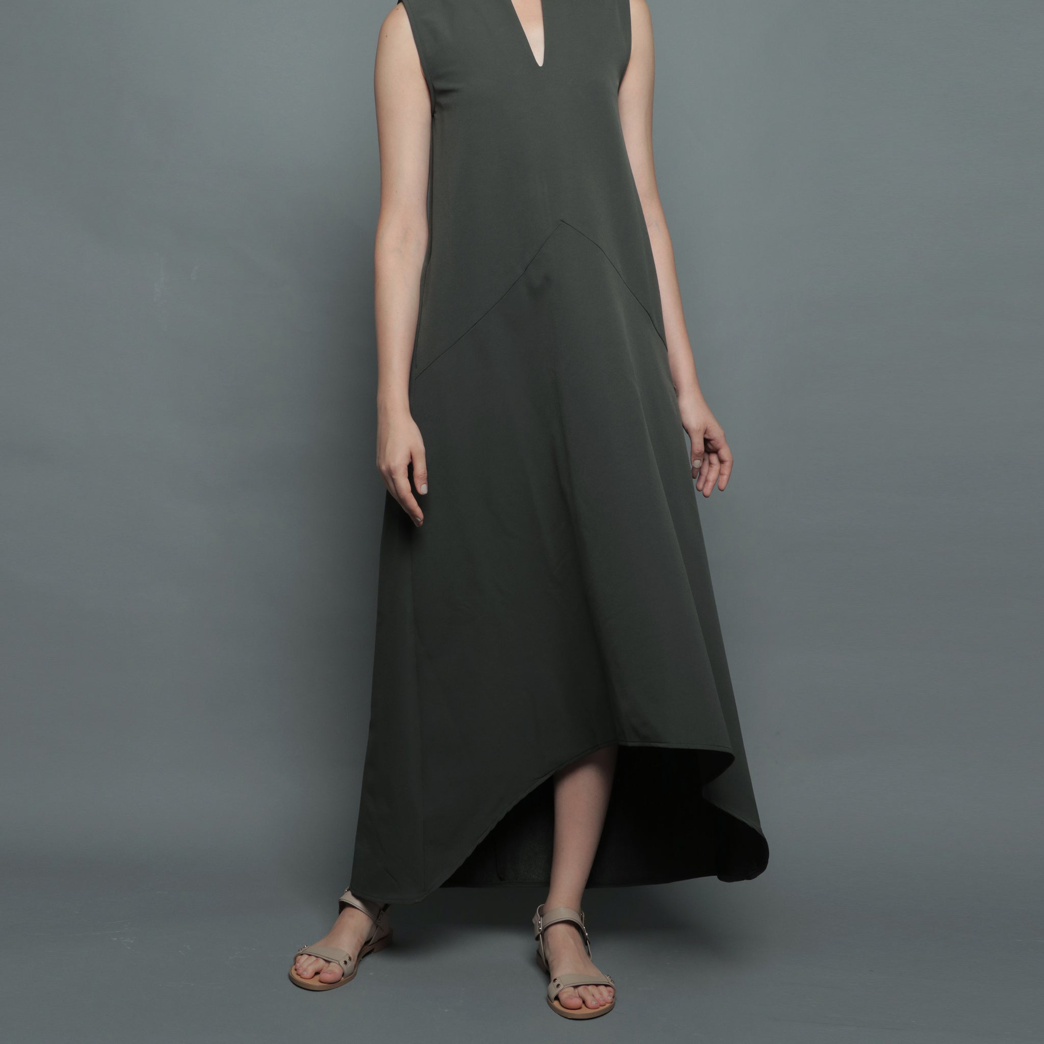 V-NECK DIPHEM DRESS <BR> FOREST