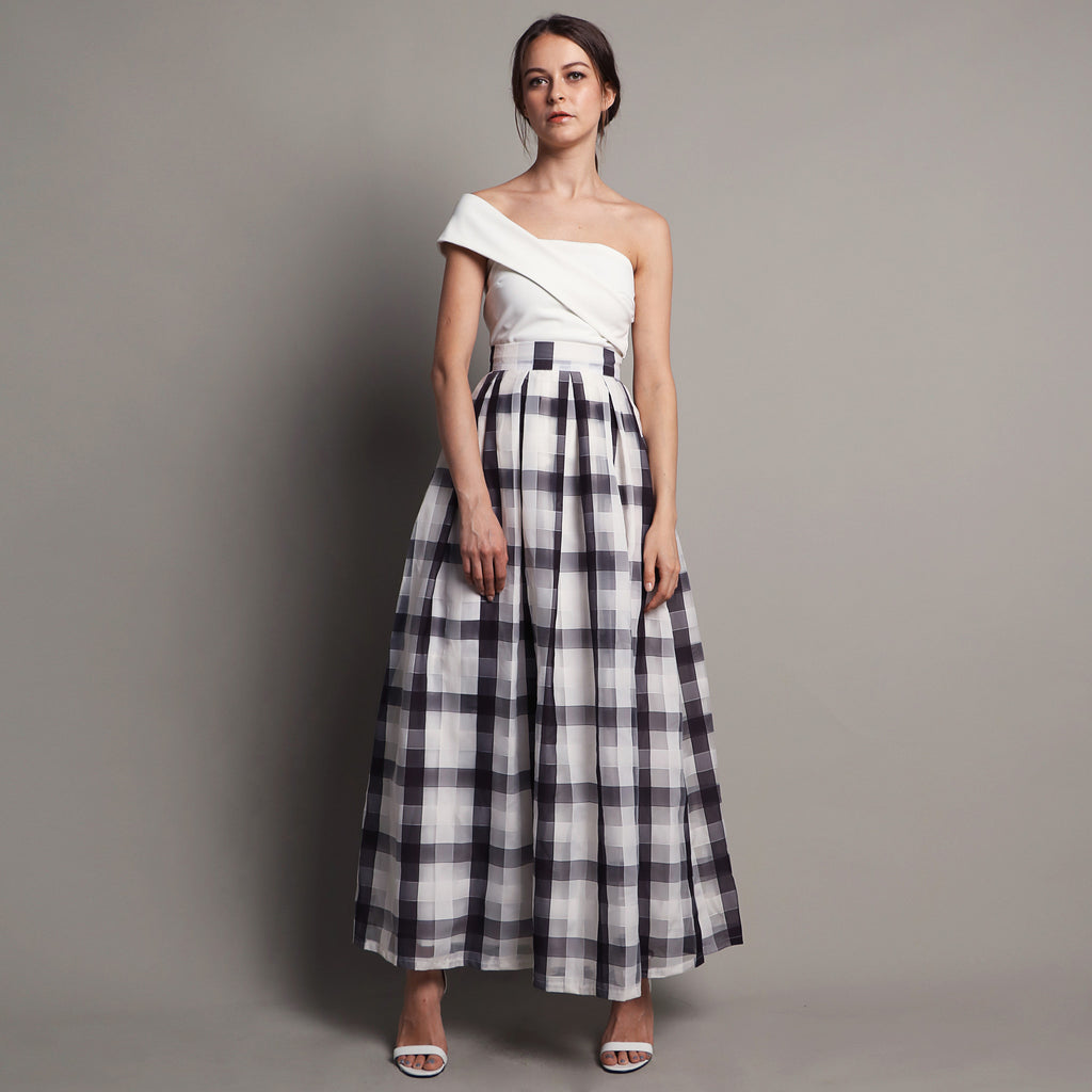 CHECKERED A-LINE MAXI SKIRT <br> WHITE