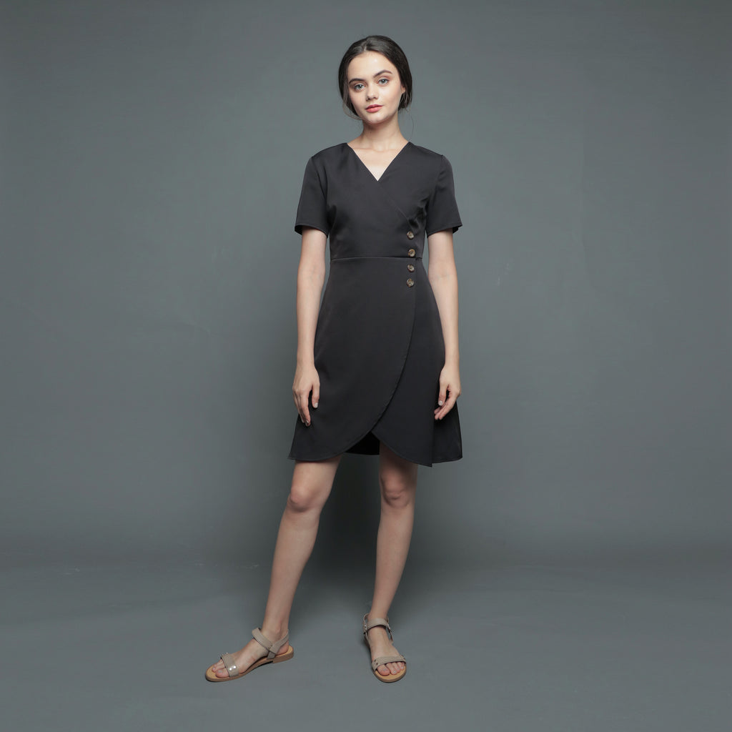 V-NECK WRAP TULIP DRESS <BR> BLACK