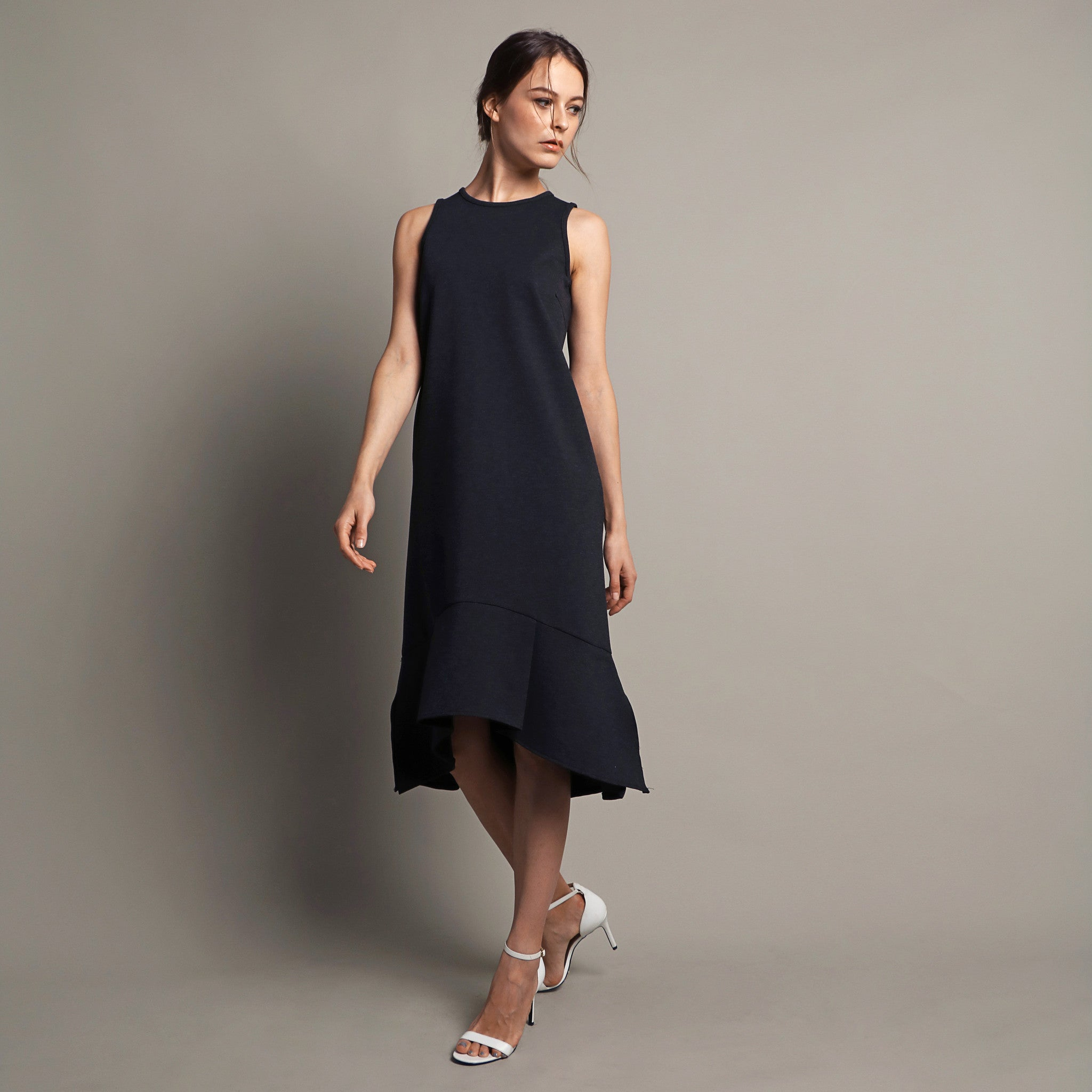 SLEEVELESS DROP WAIST MIDI DRESS <br> GREY