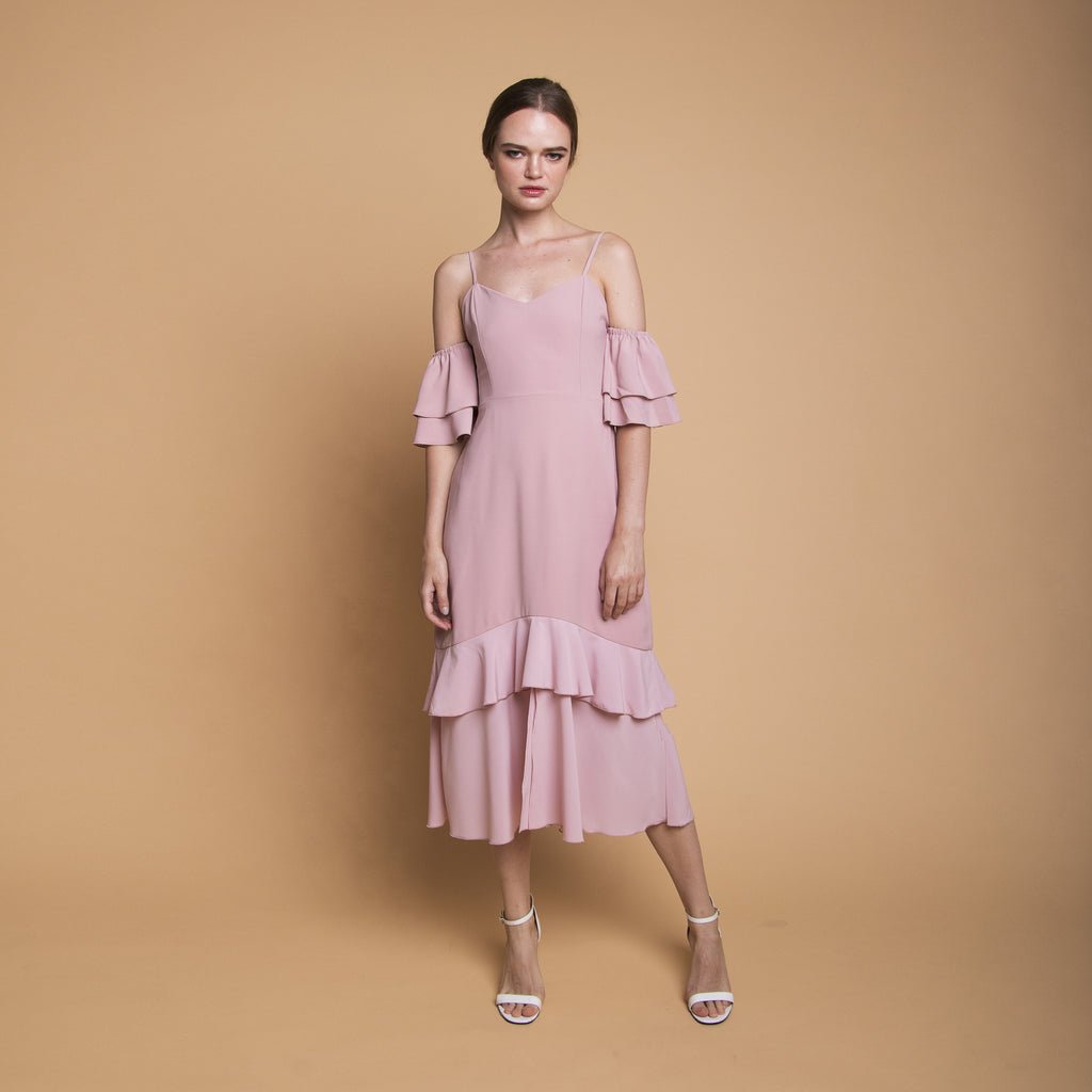 RUFFLE MIDI DRESS <BR> PINK