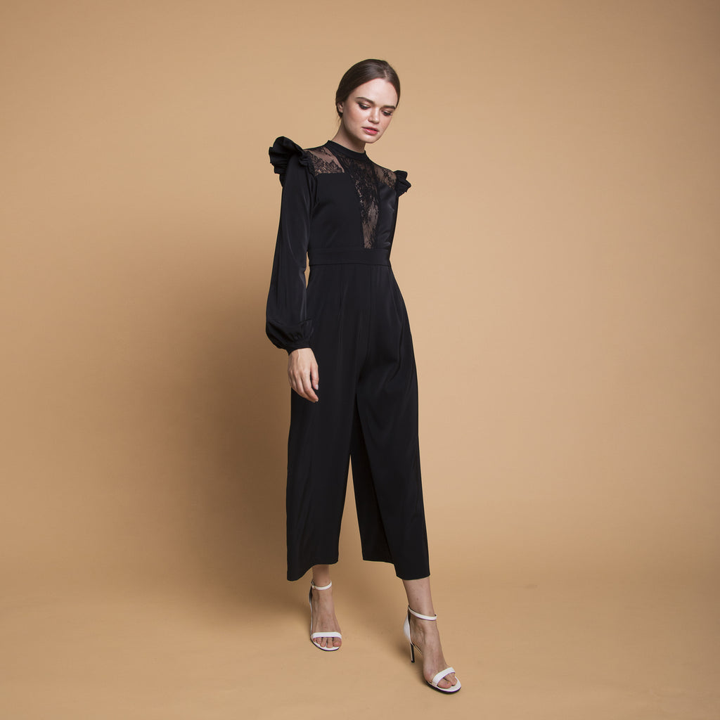 BOLD LACE JUMPSUIT <BR> BLACK