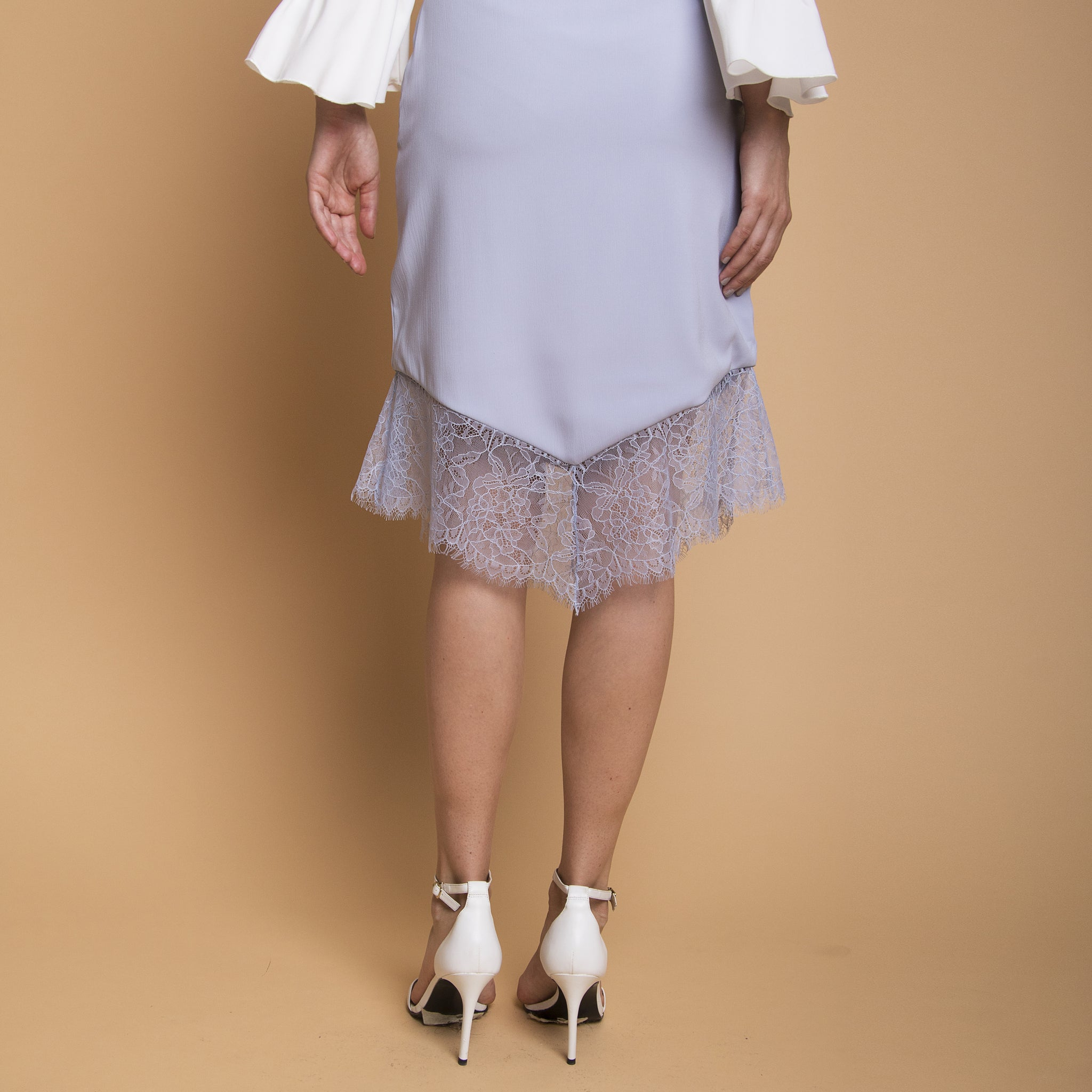 FITTED SKIRT WITH LACE HEM <BR> BLUE