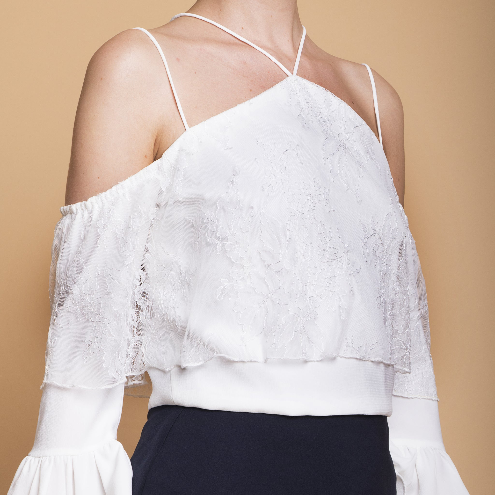 STRAPPY LACE OVERLAY TOP <BR> WHITE