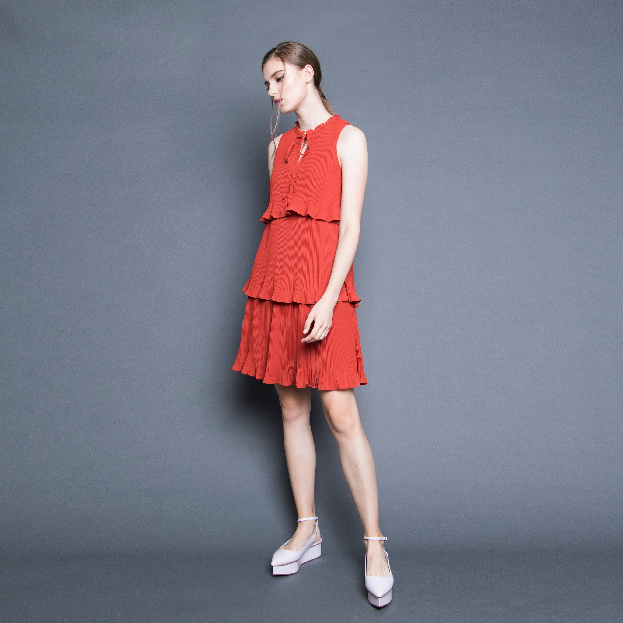 TIERED PLEATED DRESS <BR> BURNT ORANGE